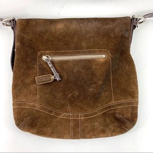 Coach Bags - Vintage Coach Brown Suede Leather Crossbody Bag